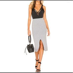 Free People Skyline Midi Skirt in Light Grey S